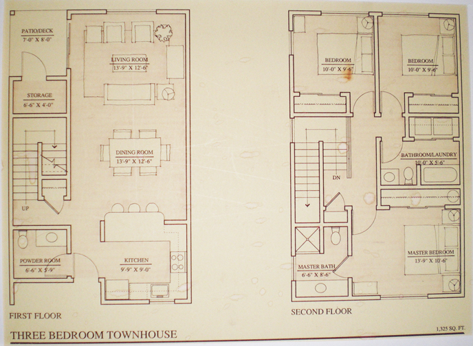 Floor plans townhouse the heron club for 3 bedroom townhouse plans